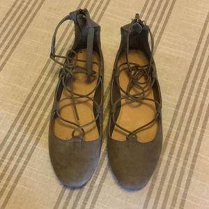 Maurices Lace Up Faux Suede Flats